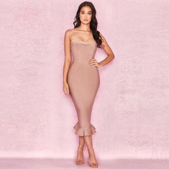 Elegant Bandage Evening Prom Party Dress Wedding Gown Qjm5548