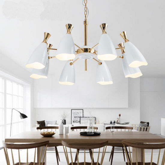 Kitchen And Dining Room Modern White Pendant Light Hanging Lamps With Metal Shades Pictures Photos