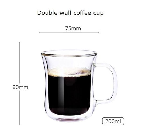 Wholesale 200ml Double Wall Glass Cup for Milk and Coffee
