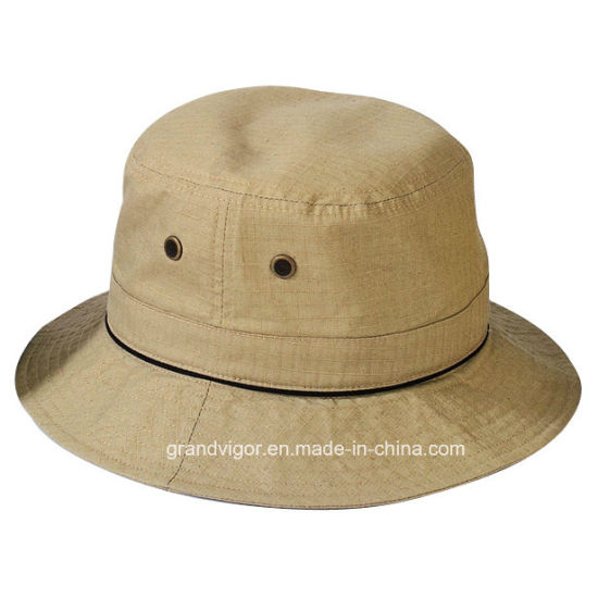 d1f4845df48 China Mens Checked Polyester Bucket Hat with Mesh Eyelets - China ...