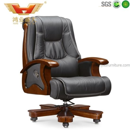 China High Quality Traditional Wooden Rotary Executive Office Chair