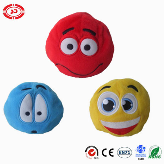 Hand Game Play Toy Emotion Face Round Stuffed with Beads