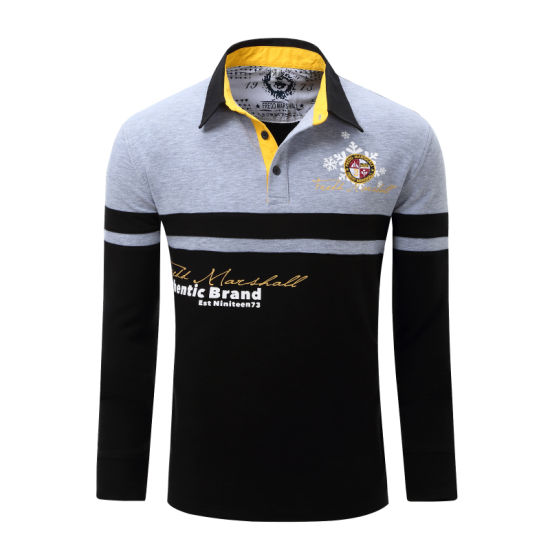 China Manufacture Custom Contrast Color Men's Long Sleeve Polo Shirt