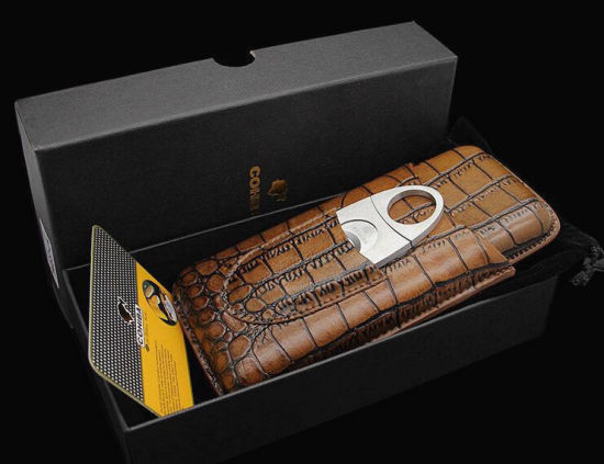 Crocodile Leather Traveling Tobacco Humidor Case pictures & photos