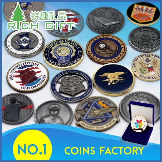 Custom Memorial Challenge Coin With Wooden Coin Box Velvet Box
