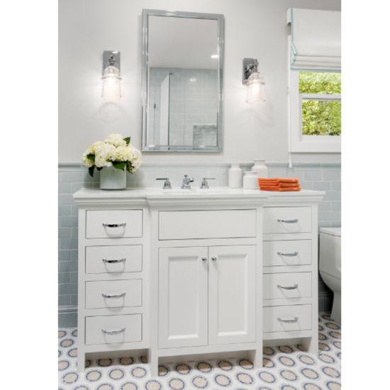 Villa Building Furniture Customized White Paint Solid Wood Bathroom Vanity