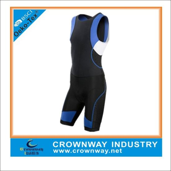 Men's Sleeveless Blue Cycling Jersey with Sublimation Printing