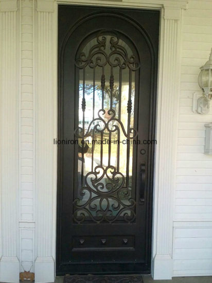 China Heavy Duty Front Iron Door Design Glass Exterior Metal Door