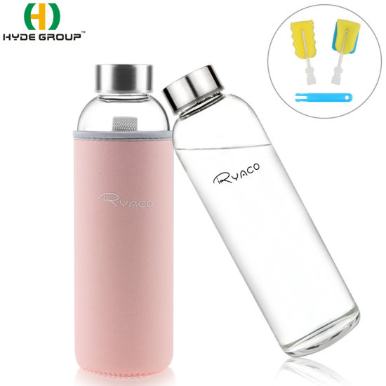 550ml Borosilicate Glass Water Bottle with Sleeve (HDP-0040)