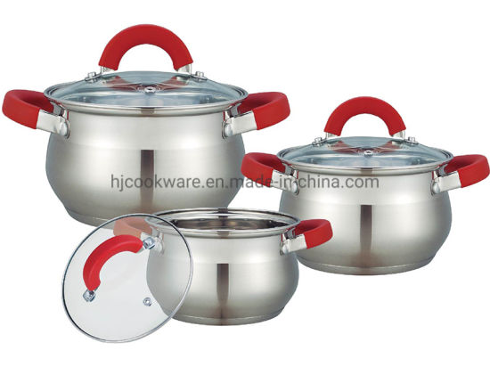 6PCS Stainless Steel Big Belly Shape Cookware Set