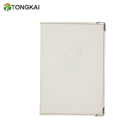White Passport Holder ID Credit Card Holder and Meno Cover Clear Pocket Design