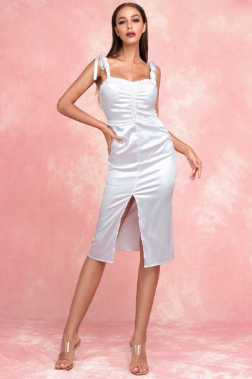 V-Necked White Slip Dress Slim Fit Fashion Split Medium Dress for Party with Lace&Bead
