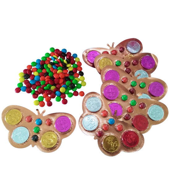 Plast Packing Butterfly Chocolate Coin and Beans