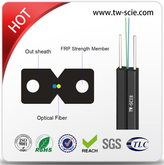 Indoor 2 Core G657A Bow-Type LSZH/PVC Drop Fiber Optic Cable