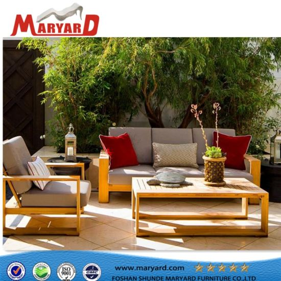 227a7a67eb ... Sectional Teak Wooden Sofa Sets Waterproof Fabric with Quick Dry Foam Outdoor  Garden Furniture ...