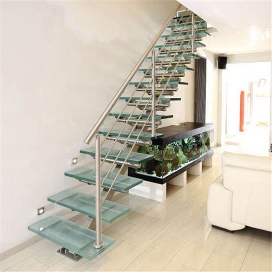 Used Stainless Steel Handrail with Glass Straight Staircase