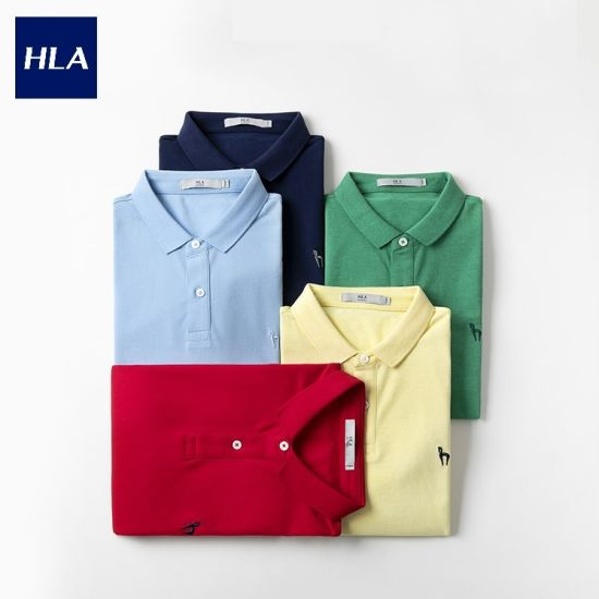 Hla Solid Color Lapel Short Sleeve Polo Single Breasted Embroidered Casual Short T