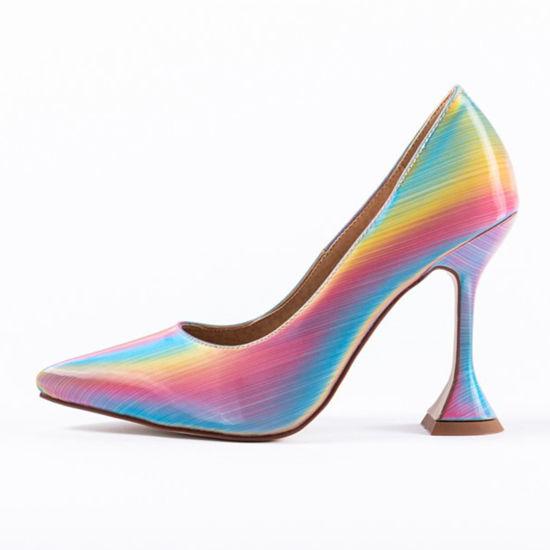 Ladies Holographic Multi Color Pumps High Heels Women Court Shoes Girls Pumps