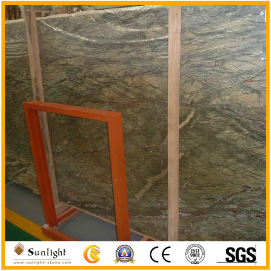 China Natural Tropical Rainforest Green Stone Marble For Countertop