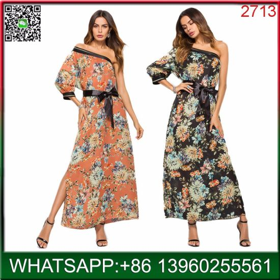China Manufacturer Wholesale Women Floral Print Long Dress for Summer pictures & photos