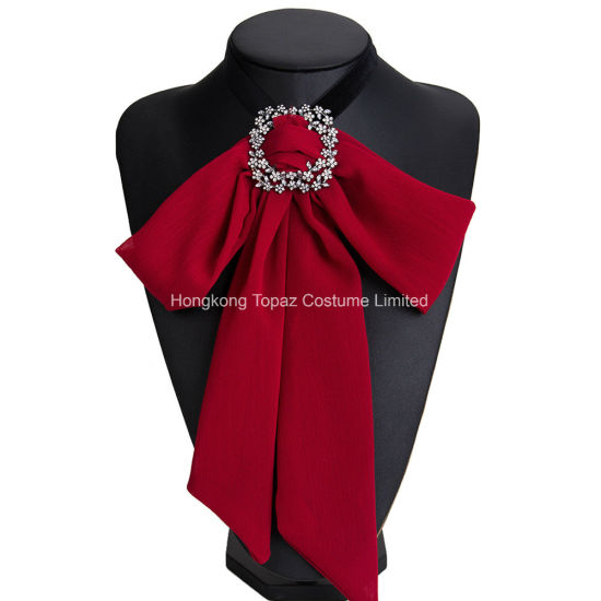 a67fcdc39d3a33 Women Crystal Boutonniere Flower Long Bow Tie Jabot Neck Cravat Brooch Pin  (J04) pictures