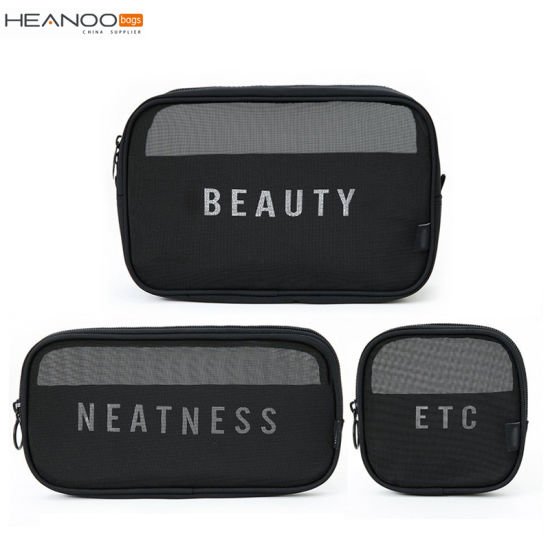 3PCS Portable Toiletry Cosmetic Bag Breathable Mesh Travel Organizer Set