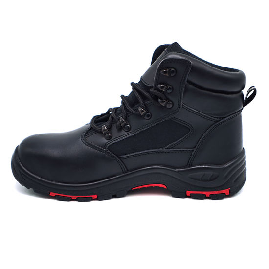 Dual-Density PU with Genuine Leather Safety Waterproof Shoes for Oil-Resistant Work Man