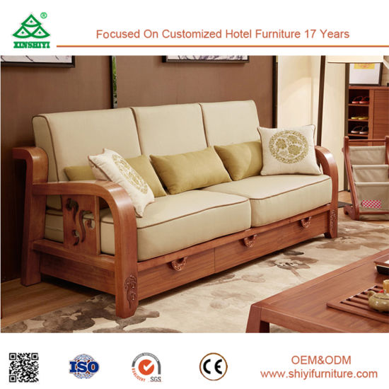 China Latest Wooden Living Room Furniture Fabric Sofa Sets 2017 New