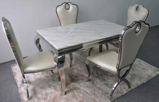 Hotel Luxury Silvery Stainless Steel Banquet Dining Table