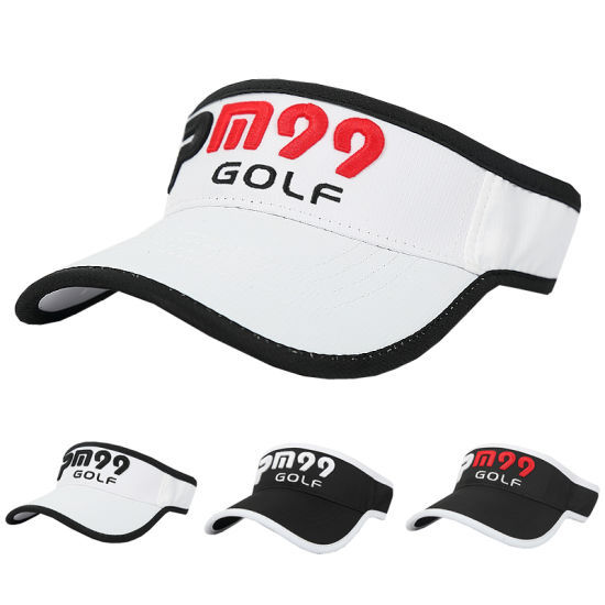 China Custom 3D Embroidery Logo Summer Golf Sun Sport Visors Hat ... e7130512681