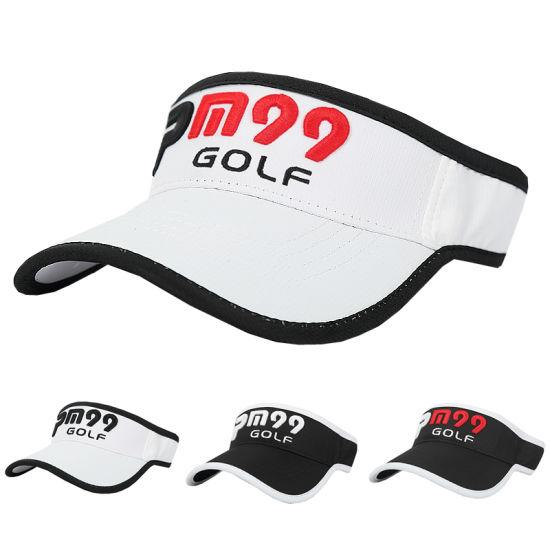 e1e89de0 China Custom 3D Embroidery Logo Summer Golf Sun Sport Visors Hat ...