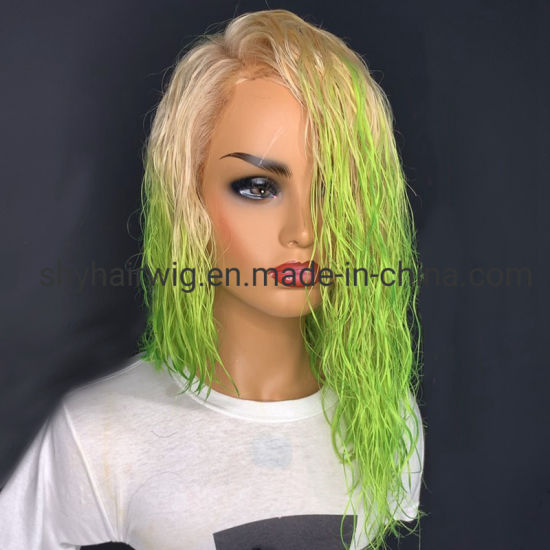 Short Hair Styles 613 Green Ombre Natural Wavy Virgin Hair Lace Wigs China Green Ombre Wig And Human Hair Wigs Short Styles Price Made In China Com