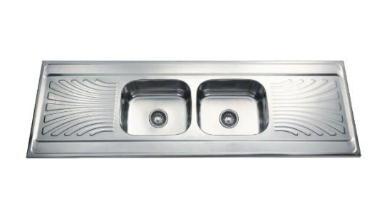 Double Kitchen Sink With Drainboard.Tainless Steel Double Bowl Double Drainboard Kitchen Sink Dd18060