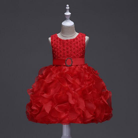 Kids Puff Princess Wedding Evening Gown