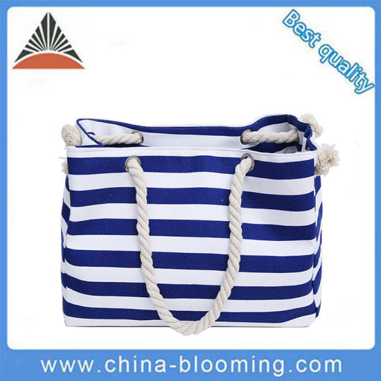 Hot Sell Beach Striped Canvas Lady Shoulder Tote Handbags pictures & photos