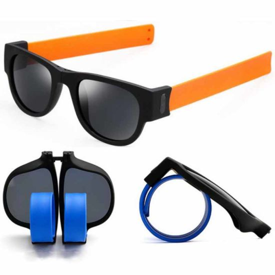 1815f3ec9ae Slapsee Foldable Folding Sunglasses with Flexible Silcone Rubber Temples  Arms