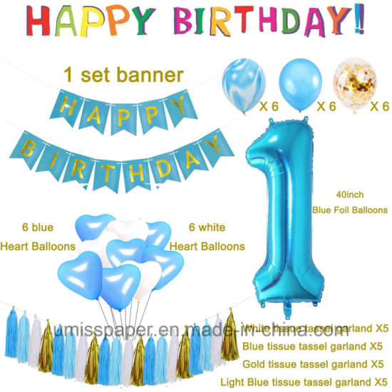 Umiss Paper Bunting 1st Happy Birthday Decorations Party Supplies OEM