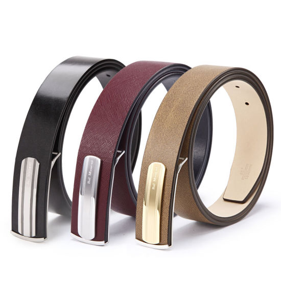 21c680245a50b Fashion Slim Stripe Design Metal Buckle Genuine Leather Man Belts pictures  & photos