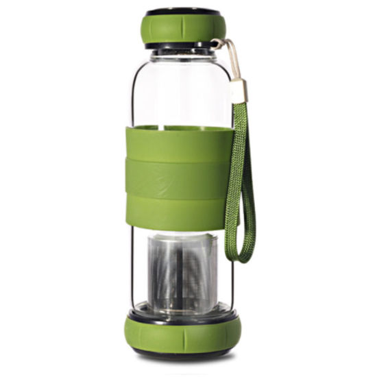 550ml Glass Water Bottle Tea Strainer with Heat-Resistant Silicone Sleeve (CC-107)