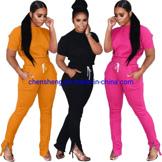 Hot Sale Two Piece Set Women Clothing Plain Hoodie Tracksuit Sports Jogging Suits for Female Lady Outdoor Home Wholesale