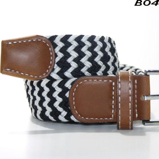 B04 Running Dream Unisex Multicolor Woven Elastic Braided Belts with Genuine Leather Ending