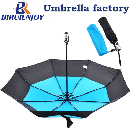 Automatic Open 3 Section Fold Umbrella Double Layer Cyan Black Pongee Vented 21/23 Inch
