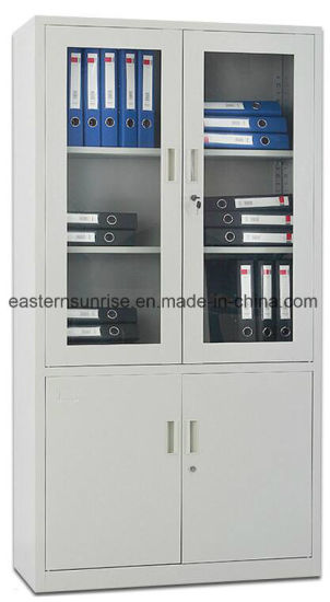 china premium half glass 4 door metal steel filing cupboard/cabinet 4 door metal filing cabinet