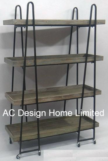 4 Tier Antique Vintage Decorative Wooden Metal Wrought Iron Shelf Brackets