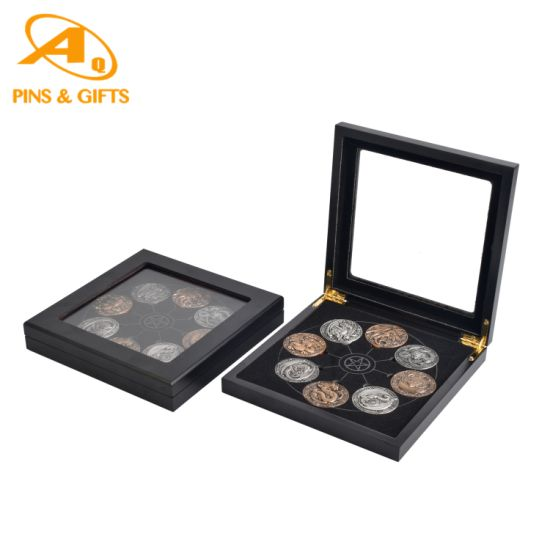 Hot! China Wholesale Factory Customized Gold Silver Metal Craft Replica Shield Souvenirs Police Military Challenge Coins with Wooden Box