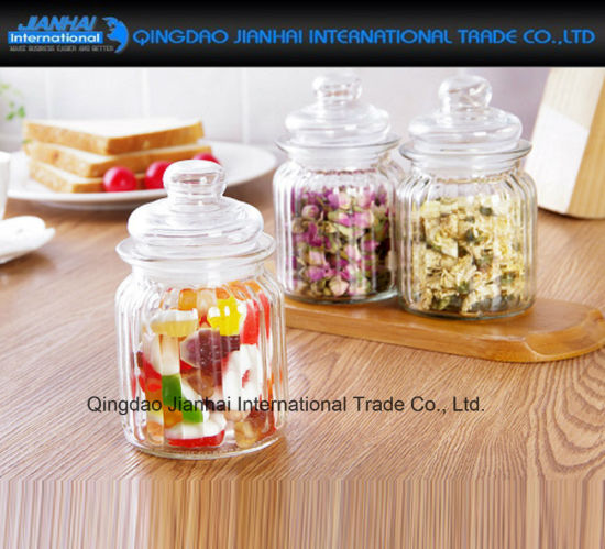 China Straight Sided Ribbed Glass Dry Food Storage Kitchen Spices