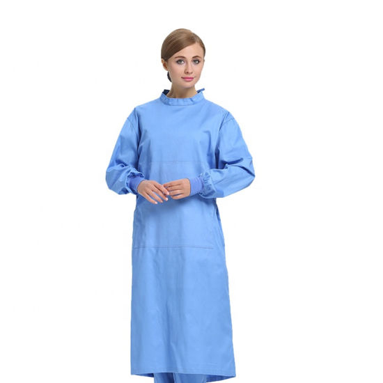 AAMI Level 3 /4 Non-Woven Personal Blue Color Anti-Blood Fluid Resistance Acid Resistant Reliable Chemical SMS PP+PE Sterilized Surgical Gown