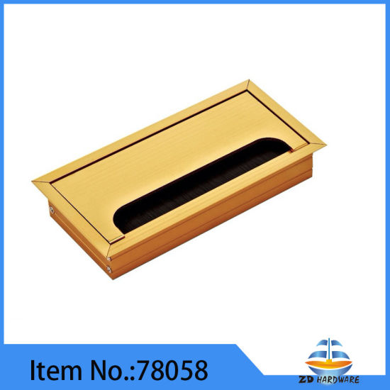 Aluminum Alloy Computer Gold Cable Outlet Box Desk Cable Insert Grommet Line Box pictures & photos