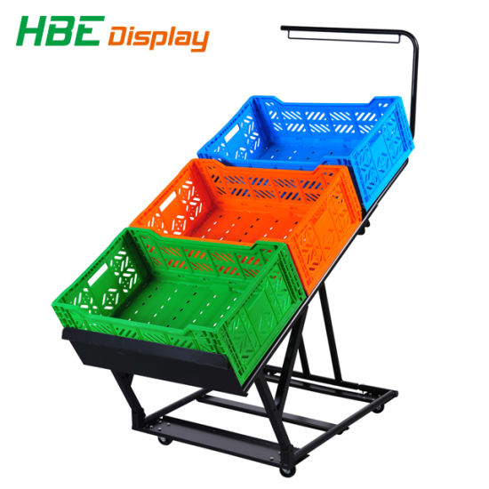 Collapsible and Foldable Metal Vegetable and Fruit Display Rack with Crates and Price Tag pictures & photos