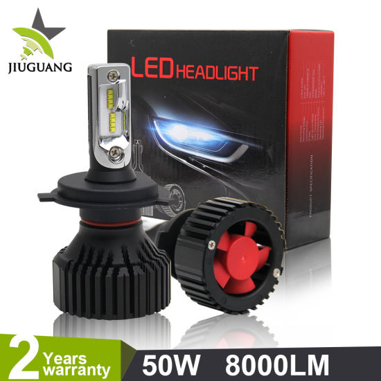 China 8000lm Fan Cooling Head Lamp Light T8 High Low Beam 9007 9005